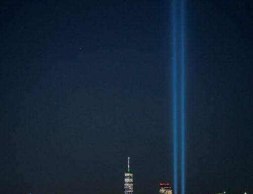 The annual 'Tribute in Light' illuminates the New York City skyline marking 20 years since the 9/11 terrorist attacks.
